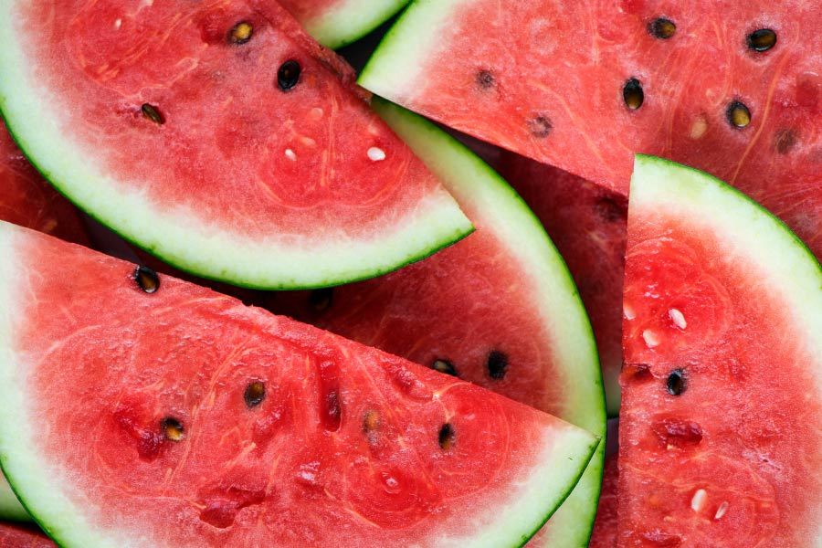 Aerial view of red juicy watermelon with black seeds